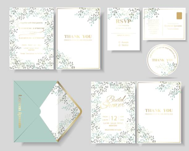 set of botanical leaves wreath wedding invitation card. - marriage stock illustrations