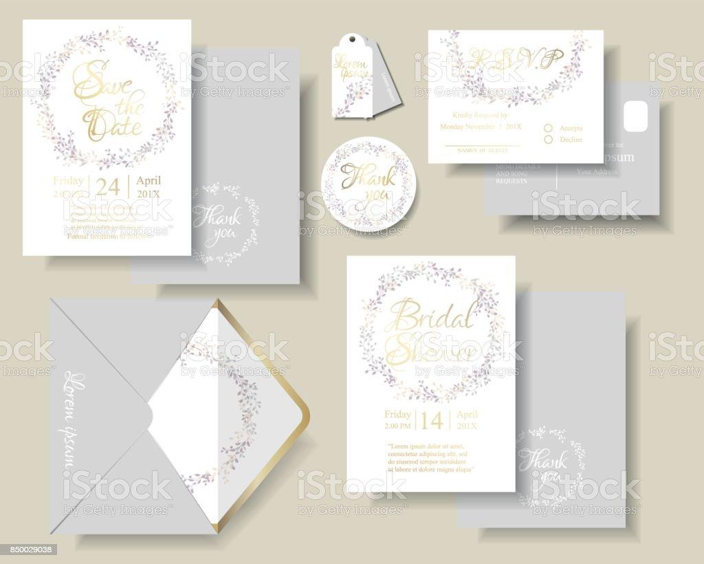 Conjunto de tarjeta de invitación de boda hojas botánico guirnalda. Tono de color púrpura y rosa. - ilustración de arte vectorial