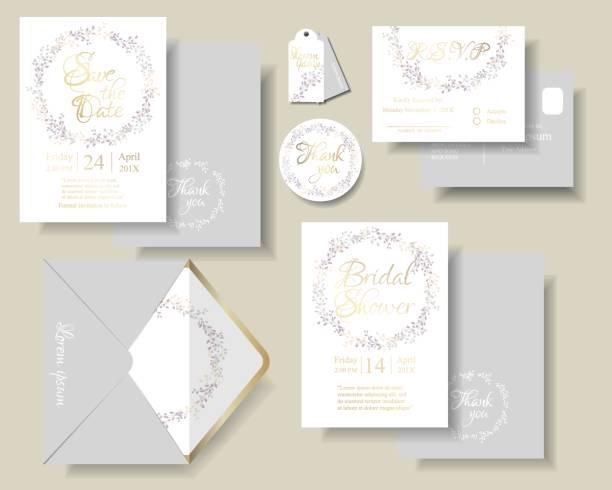 Set of botanical leaves wreath wedding invitation card.Purple and pink color tone. - ilustração de arte vetorial