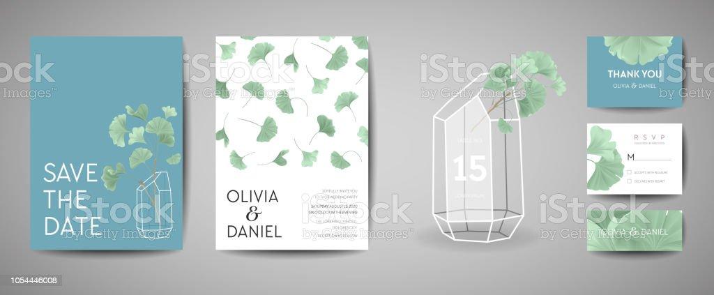Set Of Botanical Retro Wedding Invitation Card Modern Save