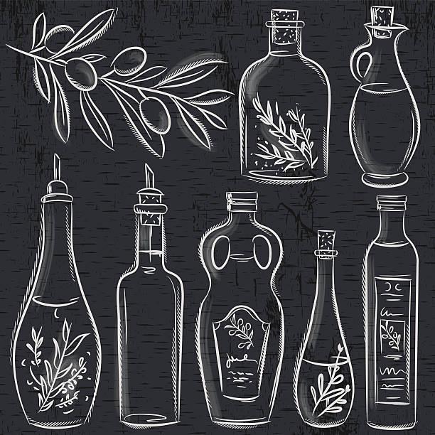 satz von flaschen mit olivenöl auf tafel, vektor - dressing stock-grafiken, -clipart, -cartoons und -symbole