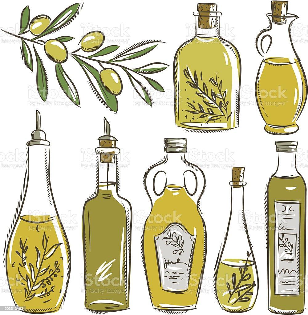 Conjunto de garrafa de azeite de oliveira, vector - ilustração de arte vetorial