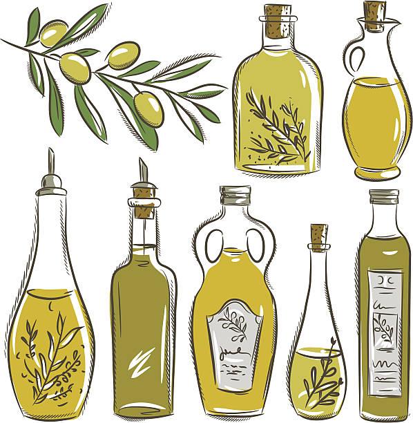 satz von flaschen mit olivenöl, vektor - dressing stock-grafiken, -clipart, -cartoons und -symbole