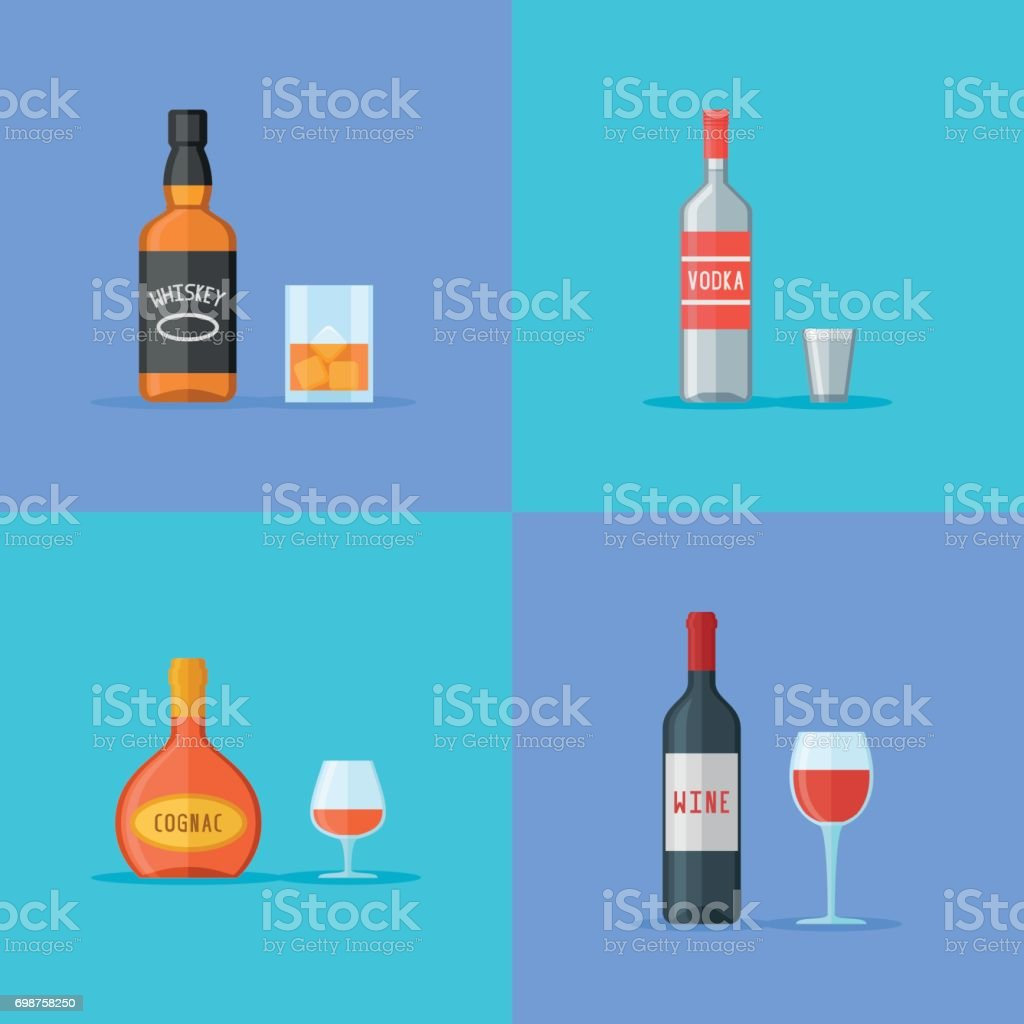 Set of bottles and glasses with alcohol drinks flat style icons vector art illustration