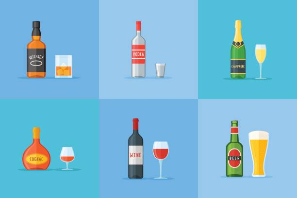 Set of bottles and glasses with alcohol drinks. Flat style icons. Vector illustration. vector art illustration