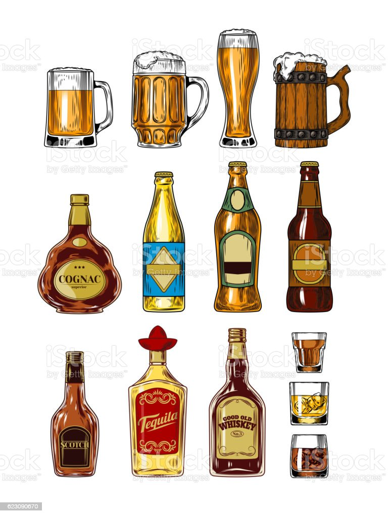 Set of bottles and stemware with alcohol vector art illustration