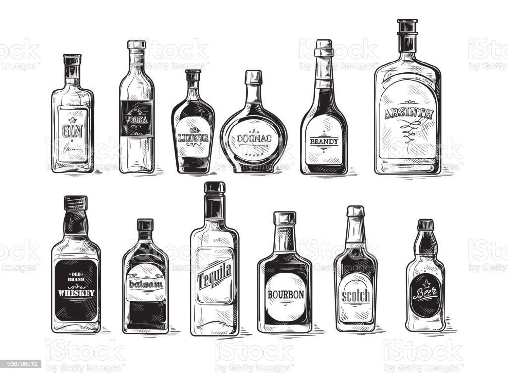 アルコールのボトルのセット ロイヤリティフリーアルコールのボトルのセット - いたずら書きのベクターアート素材や画像を多数ご用意
