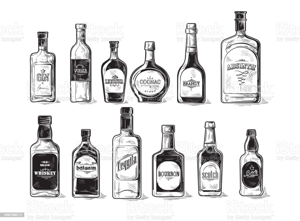 set of bottles for alcohol vector art illustration