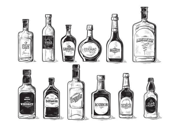 set of bottles for alcohol Vector set of bottles for alcohol bottle stock illustrations