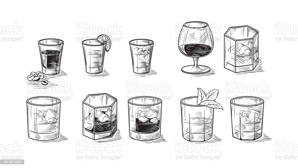 conjunto de frascos para álcool - ilustração de arte em vetor