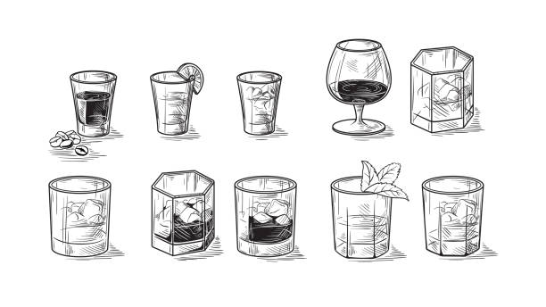set of bottles for alcohol - refreshment stock illustrations, clip art, cartoons, & icons