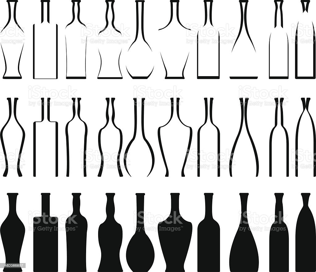 Satz Von Flaschen Schablonen Und Silhouetten Stock Vektor Art und ...