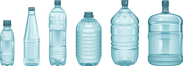 Set of bottles Set of bottles on a white background volume fluid capacity stock illustrations