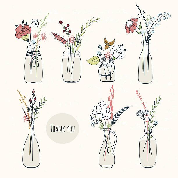 set of bottles with flowers - glasblumen stock-grafiken, -clipart, -cartoons und -symbole