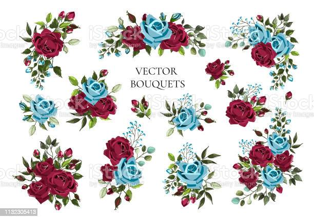 Set of bouquets bordo and navy blue flower roses with green leaves vector id1132305413?b=1&k=6&m=1132305413&s=612x612&h=g1k 16n3kbzy7vo1lois2m4wstheh0hdxvaanudhjxw=