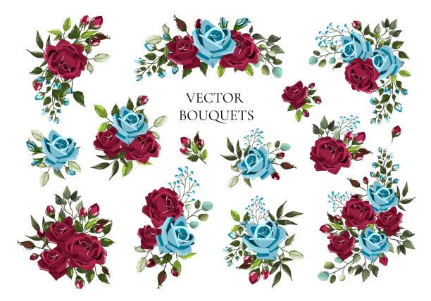 illustrazioni stock, clip art, cartoni animati e icone di tendenza di set of bouquets bordo and navy blue flower roses with green leaves - rosa rossa