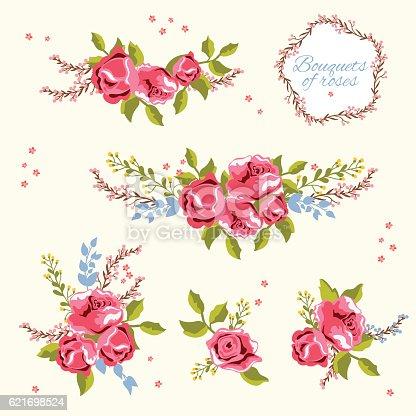 Set of  vector bouquets of pink roses isolated on white background. Floral design elements. Can be used as greeting card, invitation card for wedding, birthday and others.