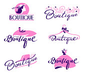 Set of Boutique Lettering and Typography. Hand Drawn and Typing Writings with Elegant Cursive Font with Woman Profile, Dress, Hat and Flourishes. Fashion Apparel Store or Designer Shop Vector Emblems