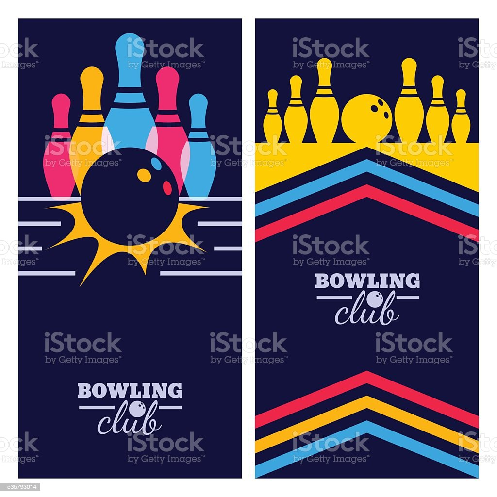 Set of bowling banner backgrounds, poster, flyer design elements. vector art illustration