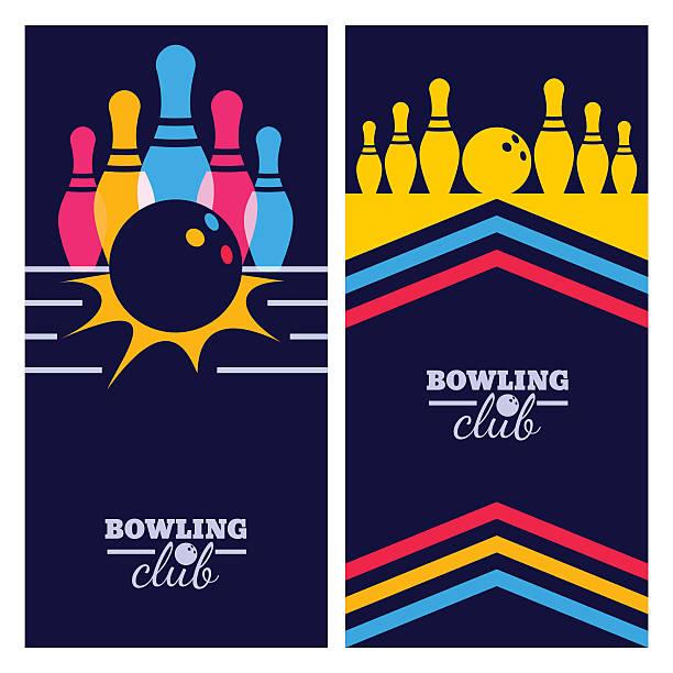 Set of bowling banner backgrounds, poster, flyer design elements. vector art illustration