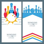 Set of bowling banner backgrounds, poster, flyer or label design elements. Abstract vector illustration of bowling game. Colorful bowling ball, bowling pins.