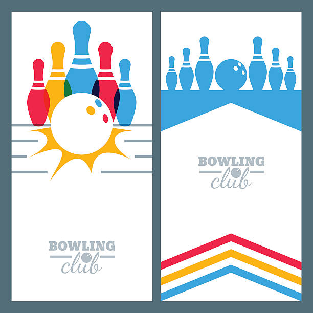 Set of bowling banner backgrounds, poster, flyer or label design. Set of bowling banner backgrounds, poster, flyer or label design elements. Abstract vector illustration of bowling game. Colorful bowling ball, bowling pins. ten pin bowling stock illustrations