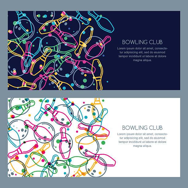 Set of bowling banner backgrounds, poster, flyer or label design. vector art illustration