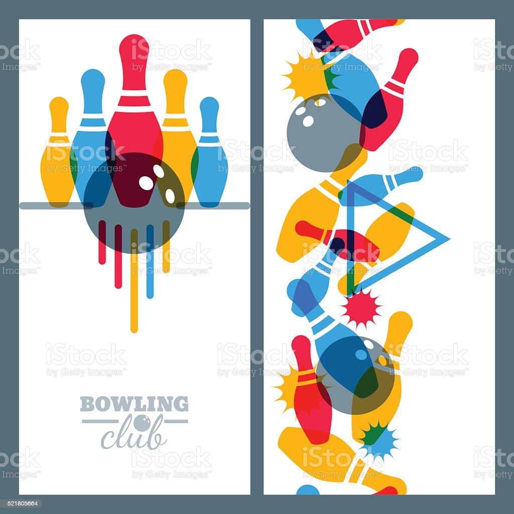 Set of bowling banner, poster, flyer or label design elements. vector art illustration