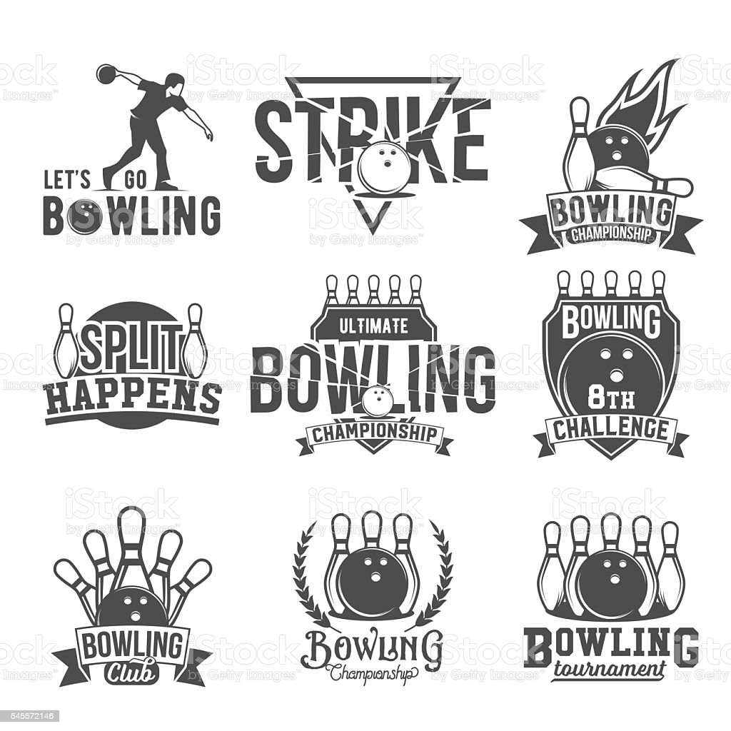 Set of  bowling emblems, labels, badges and designed elements – Vektorgrafik