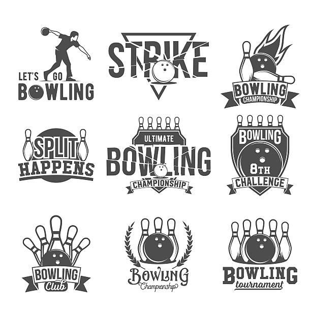 Set of  bowling emblems, labels, badges and designed elements vector art illustration