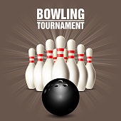 Set of bowling skittles and bowling ball - poster