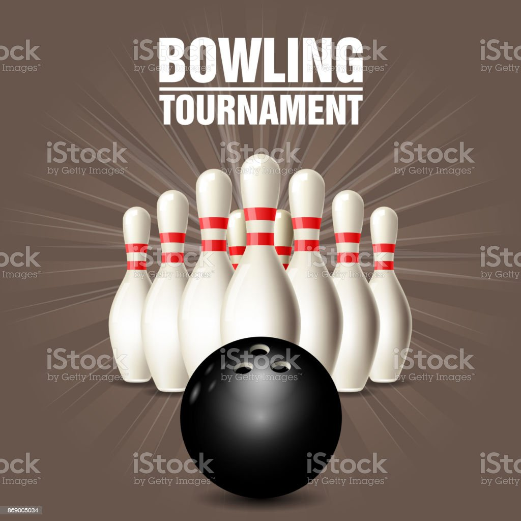 Set of bowling skittles and bowling ball - poster vector art illustration