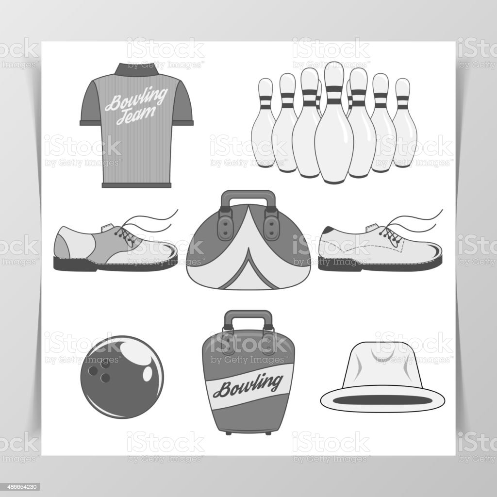 Set of Bowling vintage Design Elements vector art illustration