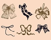 Set of Bows Hand drawn vector.