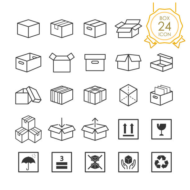 Set of box or packaging icons and caution signs on white background, Vector illustration. Set of box or packaging icons and caution signs on white background, Vector illustration. handle stock illustrations