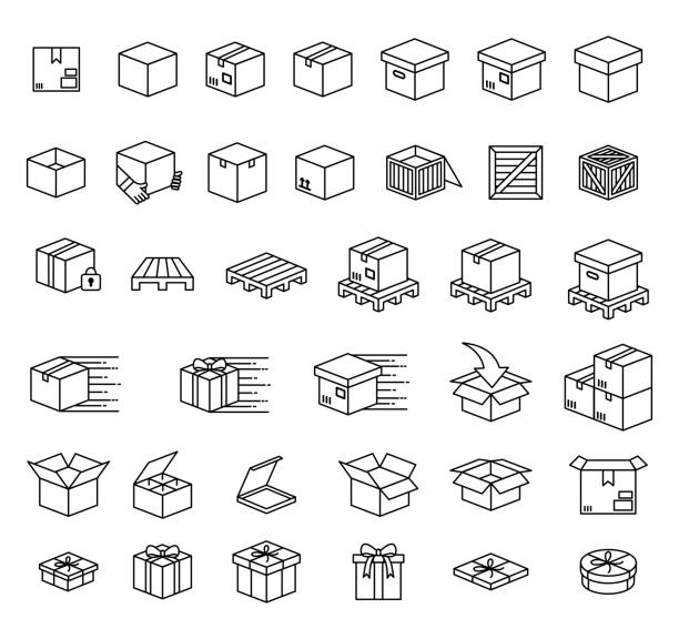 stockillustraties, clipart, cartoons en iconen met set dozen en pictogramset voor verpakkingsvectoren - pallet