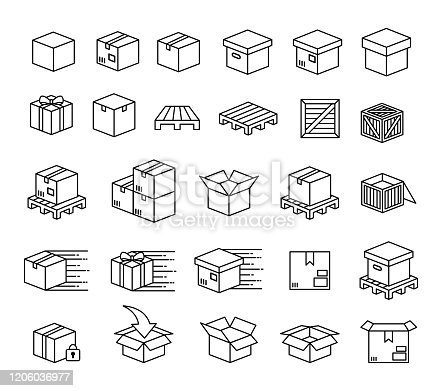 Set of boxes and packaging vector icon set art