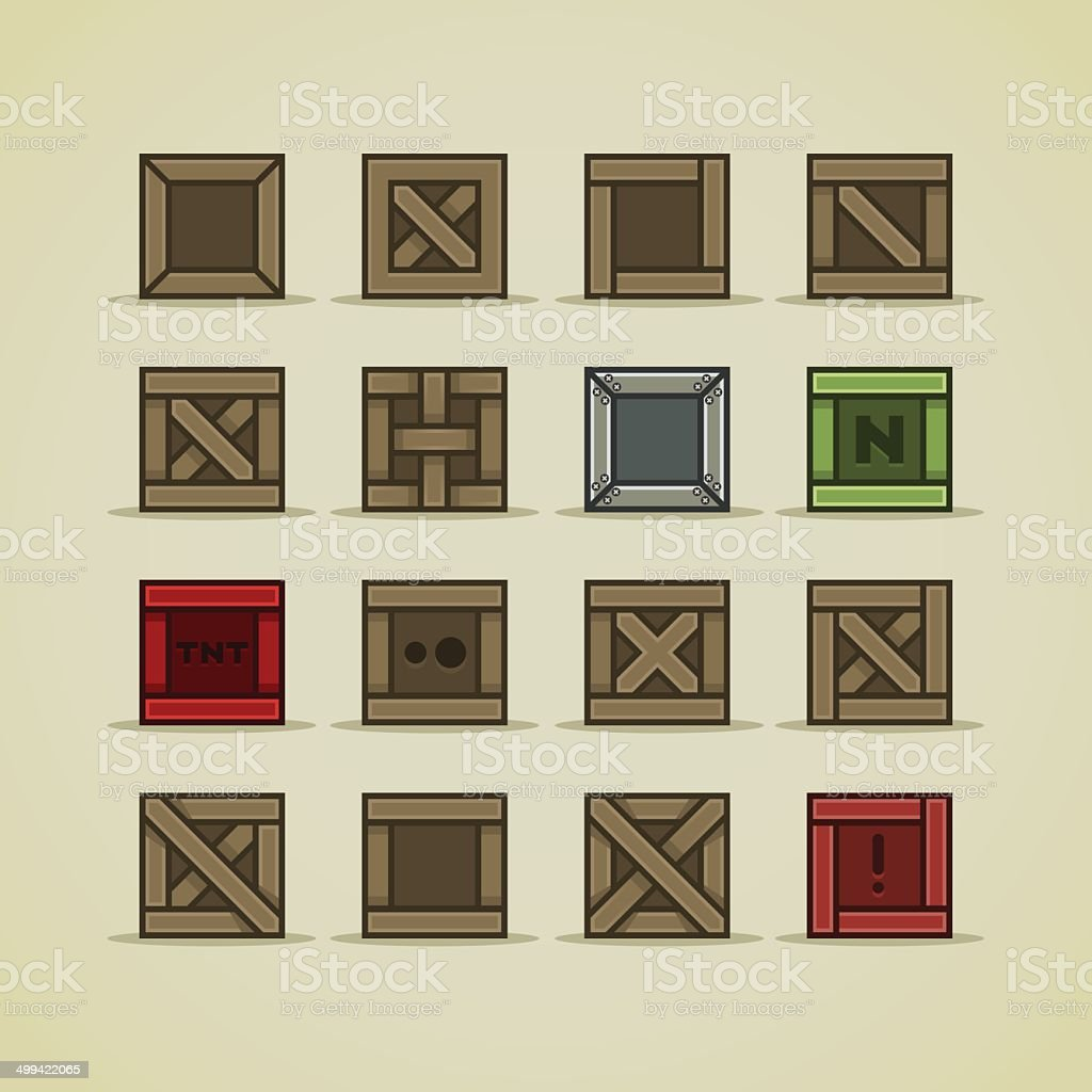 Set of boxes for game vector art illustration