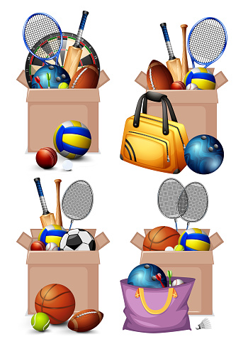 Set of boxes full of sport equipments on white background