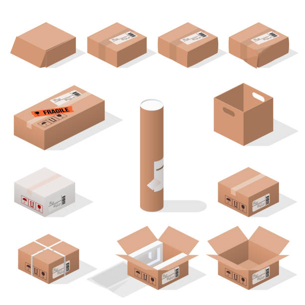 set of boxes isometric boxes cardboard box stock illustrations