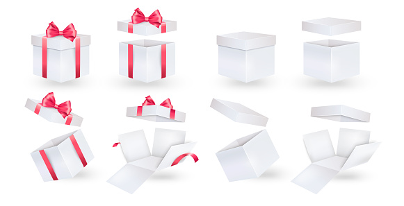 Set of vector boxes on a white background. Open and closed box.