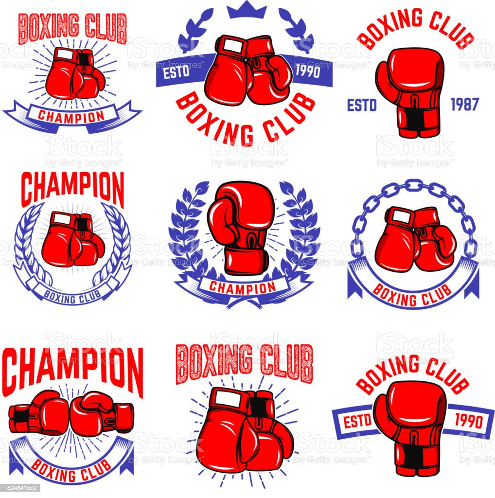 Set of boxing club emblems. Boxing gloves. Design elements for label, badge, sign, brand mark. Vector illustration vector art illustration