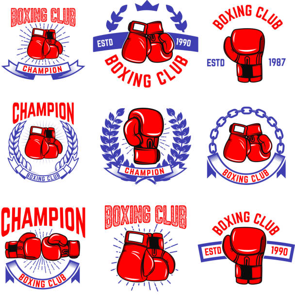 set of boxing club emblems. boxing gloves. design elements for label, badge, sign, brand mark. vector illustration - boxing gloves stock illustrations, clip art, cartoons, & icons