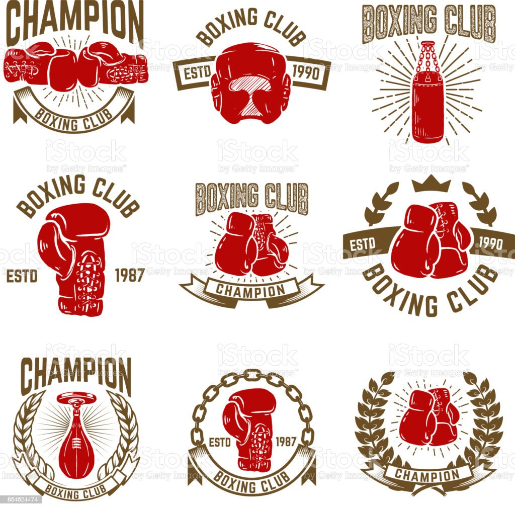 Set of boxing club emblems. boxing gloves. vector art illustration