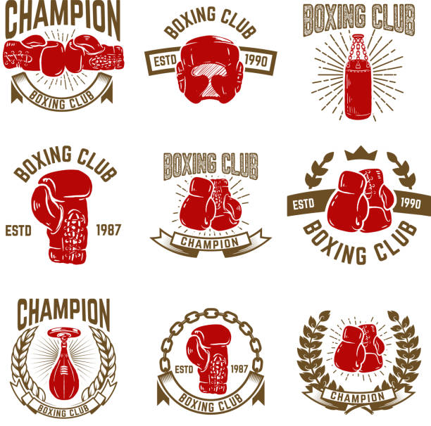 set of boxing club emblems. boxing gloves. - boxing gloves stock illustrations, clip art, cartoons, & icons
