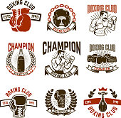 Set of boxing club emblems. boxing gloves.