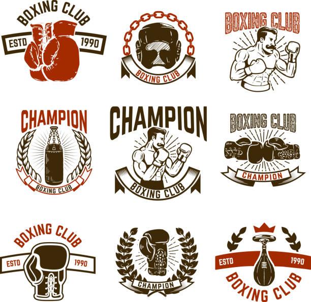 Set of boxing club emblems. boxing gloves. vector art illustration