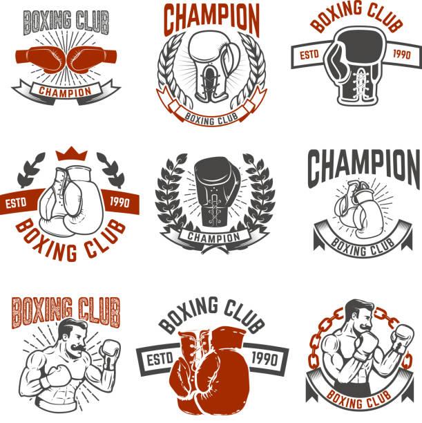 Set of boxing club labels. Design elements for label, emblem, sign. Vector illustration vector art illustration