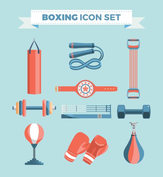 Set of boxing equipment vector colorful design elements isolated on blue background. Vector Illustration vector art illustration