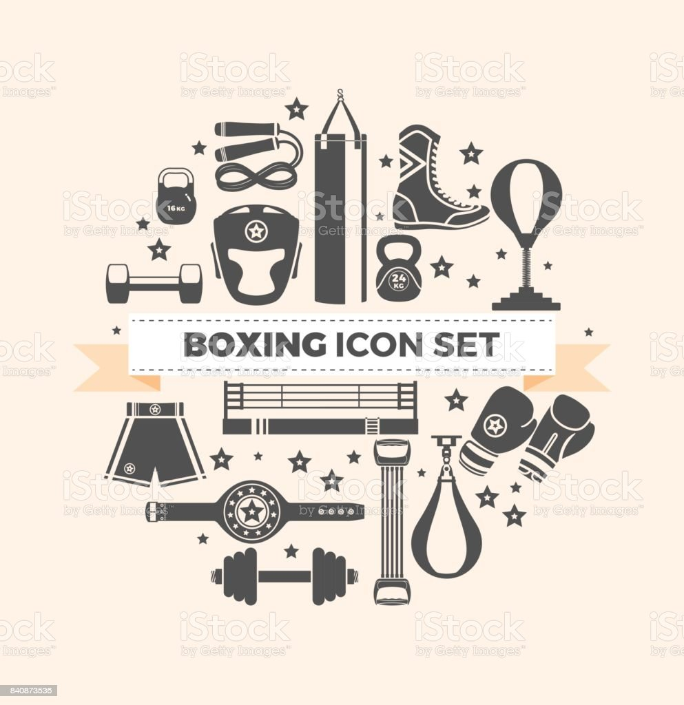 Set of boxing equipment vector monochrome design elements isolated on beige background. Vector Illustration vector art illustration